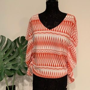 Aztec Coral Top with Side Drawstrings